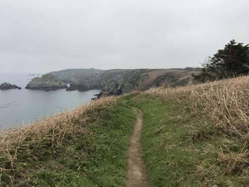 The trail is a beaten dirt strip heading east, winding and disappearing over a low rise.  To either side is a narrow verge of what looks like grass, past which are dry brambles.  The ground drops to the left down to the grey ocean, and ahead can be seen a winding coastline with rocky cliffs and islets.  The sky above is a grey barely distinguishable from the water below.