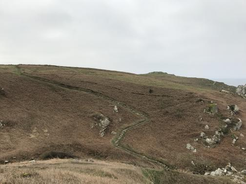 Immediately in front is the edge of a bluff; we can't see what is below.  Looking across the gap we see another slope, with the trail winding up from below.  The slope has some large rocks, but is mostly covered with dead brown vegetation.
