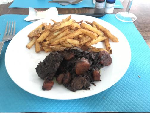 On a sky-blue placemat, a white plate holds a serving of dark, tender beef stewed with onions and carrots, and a helping of fries.