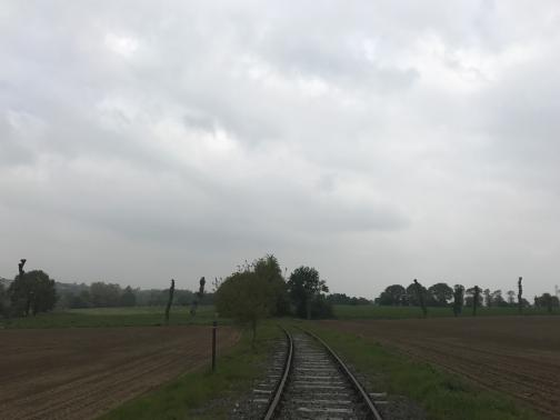 Train tracks curve gently away to the north.  Immediately to either side is grass; beyond the grass are recently-plowed fields.  A wooden post ahead shows the trail marking, white over red.  In the distance, the tracks appear to pass between green fields.  The sky is overcast.