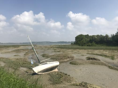 A mud flat stretches to the east to a faintly-visible river.  On the near side is a small sailboat, for one or perhaps two people, tilted at a 30–45° angle on the mud.  In the mud are long, curved mounds of higher mud; it looks like a stream might have carved channels on its way to the river.  The far side of the mud has trees; the near sky is clear, though there are clouds in the distance.