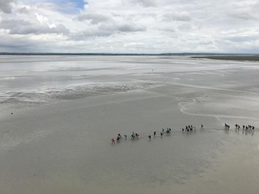 Below to the northwest, a few dozen people walk far below in wet tidal sand, leaving footprints behind them.  The leader wears a red jacket, and we can barely make out a tall walking stick.  The sand is marked with rivulets from the recently-receded tide; further out, it is difficult to tell if there is much water on the sand, or if there's just a thin layer reflecting the overcast sky.  Further in the distance, we can see low, dry land.